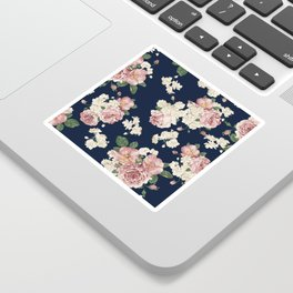 Pink Roses on dark blue pattern Sticker