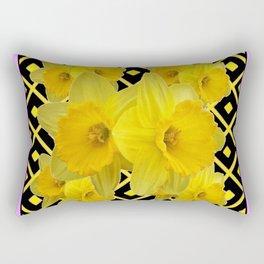 Charcoal Grey Lilac Yellow Daffodils art Rectangular Pillow