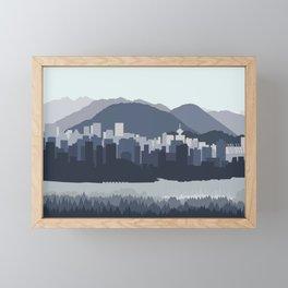 Vancouver Skyline in Blues Framed Mini Art Print