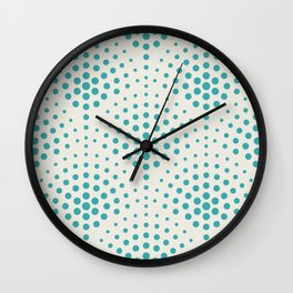 Aqua Teal Turquoise Solid Color Polka Dot Scallop Pattern on Alabaster White - Aquarium SW 6767 Wall Clock