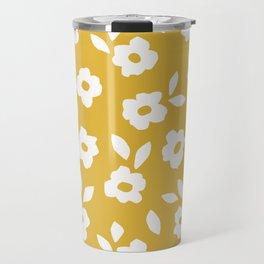 Simple Hand Cut Floral | Yellow Travel Mug
