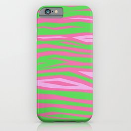 Punky Pink And Green Stripy Animal Print iPhone Case