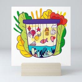 Modern floral pattern Mini Art Print