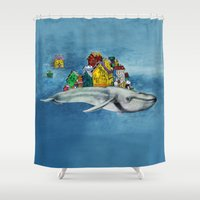 the whale Shower Curtains featuring whale by Кaterina Кalinich