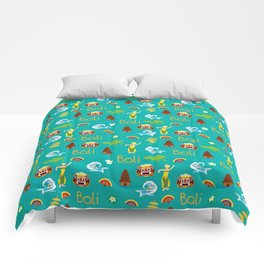 bali pattern summer tropical tosca Comforters