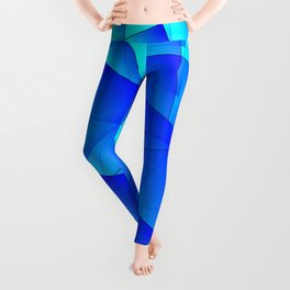 Bright sea pattern of heavenly and blue triangles and irregularly shaped lines. Leggings