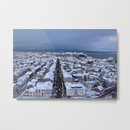 High Street in Winter (Downtown Reykjavik) Metal Print