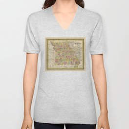 State of Missouri Map (1852) Unisex V-Neck