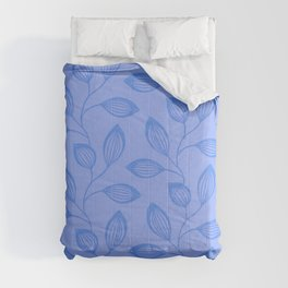 Climbing Leaves In Cerulean Blue Comforters
