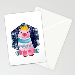 Cute Pink Bear Wearing a Crown Stationery Cards