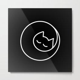 Lap Cat Black Metal Print