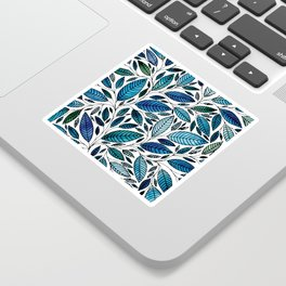 Blue Leaves / leaf Illustration (P07 063) Sticker