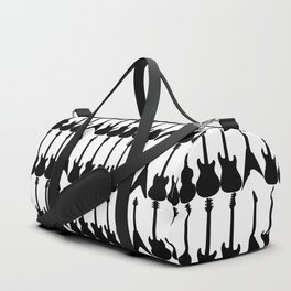 Guitar Silhouettes Black on White Pattern Duffle Bag