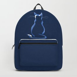 Sitting Cat from behind in Blue Backpack