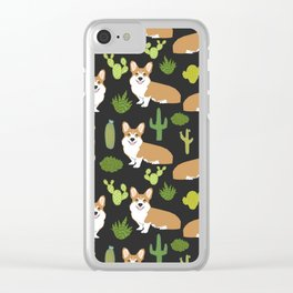 Welsh Corgi cactus southwest desert dog breed corgis gifts Clear iPhone Case