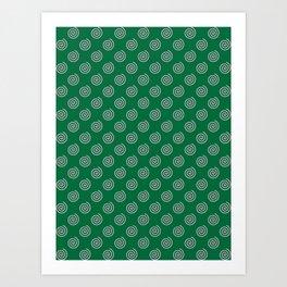 Cotton Candy Pink on Cadmium Green Spirals Art Print