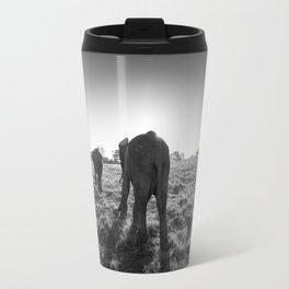 Group of African elephants walking at sunset Travel Mug