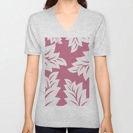 tropical pink leaves Unisex V-Neck