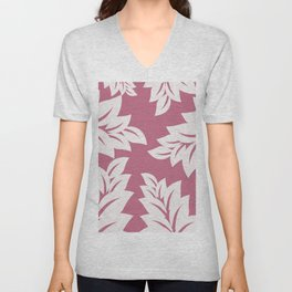 tropical pink leaves Unisex V-Neck