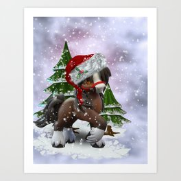 Santa Pony Art Print