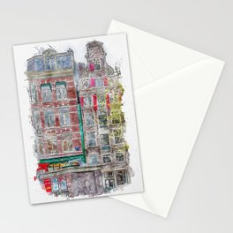 Aquarelle sketch art. Typical architecture in Amsterdam, Netherlands Stationery Cards