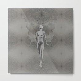 Silver Leaf Fairy Metal Print
