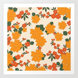 Flowers, Petals, Leaves, Blossoms - Orange Green Art Print