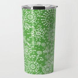 Graphic Ink Doodles (green) Travel Mug