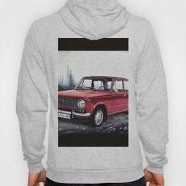 RUSSIAN LADA IN RED WITH SLOVAKIA TATRY MOUNTAINS IN THE BACKGROUND Hoody