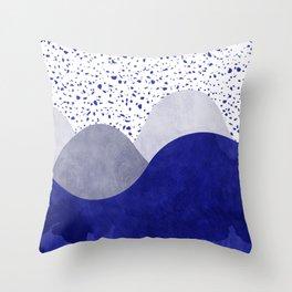 Terrazzo galaxy wave blue grey white Throw Pillow
