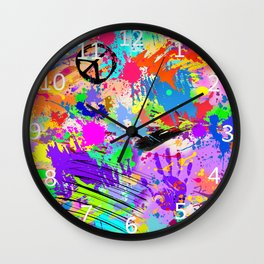 Psychodelic Hipppie Abstract Painting Wall Clock