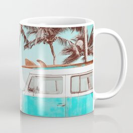 Retro Camper Van With Surf Board Coffee Mug