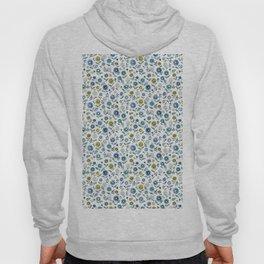 indigo blues floral pattern Hoody