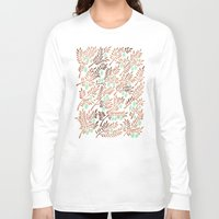 rose gold Long Sleeve T-shirts featuring Olive Branches – Rose Gold & Mint by Cat Coquillette