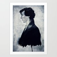 sherlock Art Prints featuring Sherlock by LindaMarieAnson