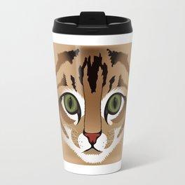 Cute brown tabby cat face close up illustration Travel Mug