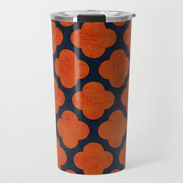 navy and orange clover Travel Mug
