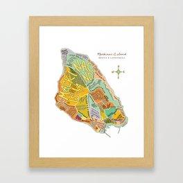 Mackinac Island Illustrated Map Framed Art Print