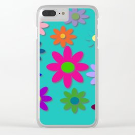 Flower Power - Teal Background - Fun Flowers - 60's Style - Hippie Syle Clear iPhone Case