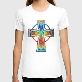 Colorful Celtic Cross by Sharon Cummings T-shirt