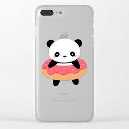 Kawaii Donut Panda Clear iPhone Case