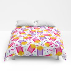 French Fries junk food party time razzle neon bright happy fun kids children pop art pattern foods Comforters