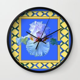BLUISH-WHITE PASTEL IRIS FLOWER BOTANICAL ART Wall Clock