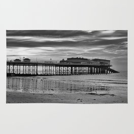Cromer Pier in black and white Rug