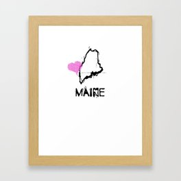Love Maine State Sketch USA Art Design Framed Art Print