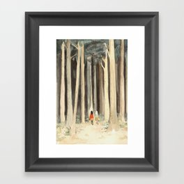 Snow & Rose in the Forest Framed Art Print