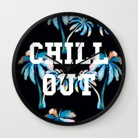 tupac Wall Clocks featuring Chill Out by Text Guy