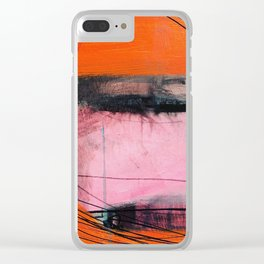 Orange and Black Line Clear iPhone Case