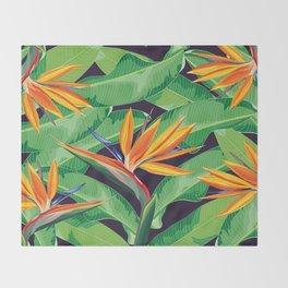 Bird of paradise flower Throw Blanket