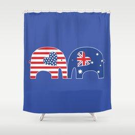 U.S.-Australia Friendship Elephants Shower Curtain